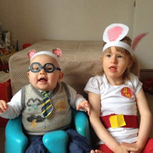 little boy and girl dressed as Penfold and Dangermouse