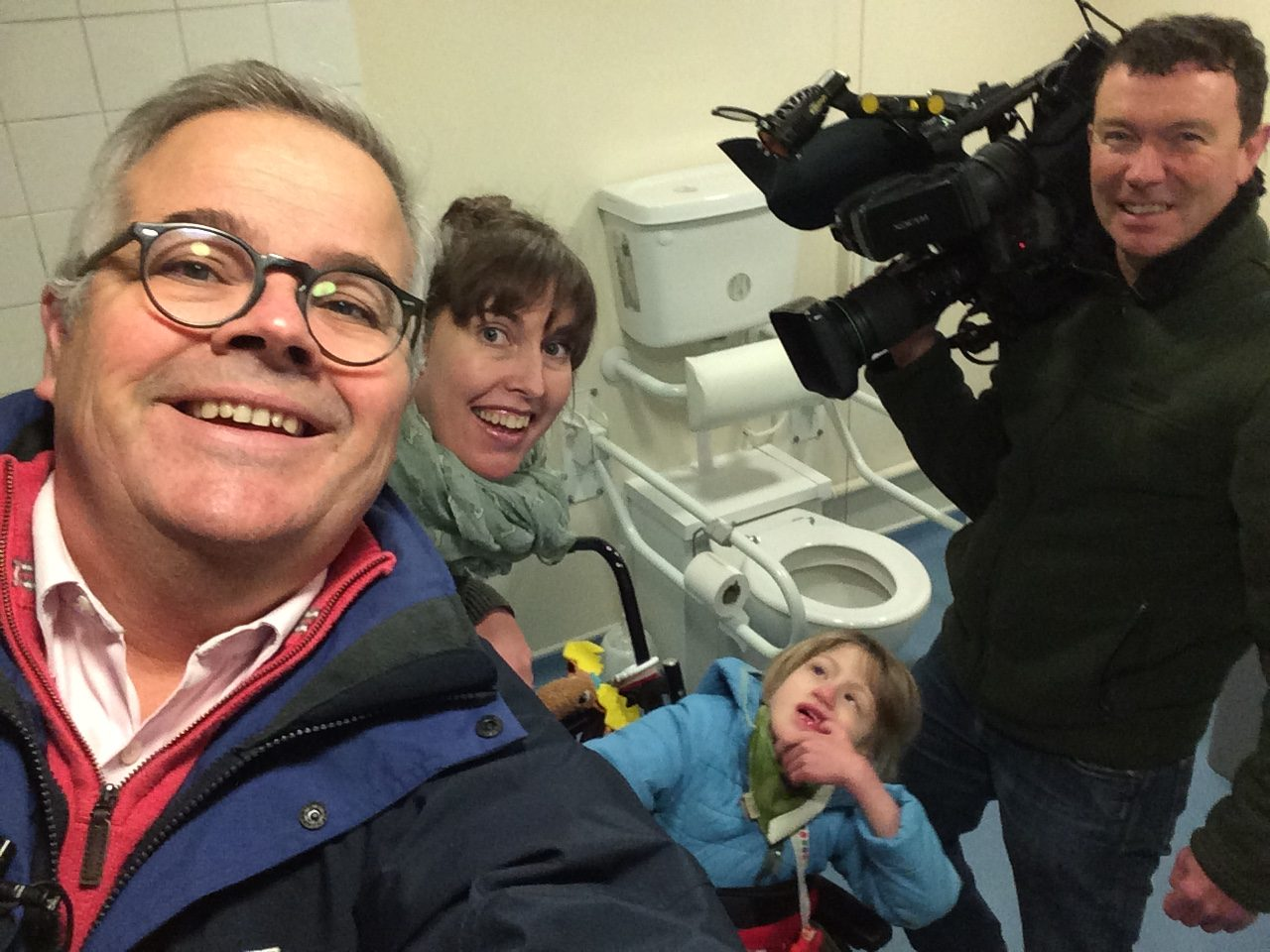 changing places selfie with BBC Look East reporter & cameraman