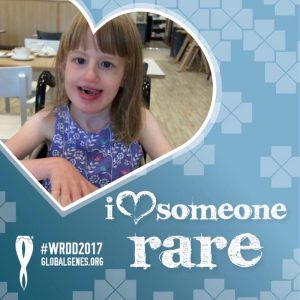 Global Genes Day graphic with EJ's photo in a heart shape, tag line: I love someone rare