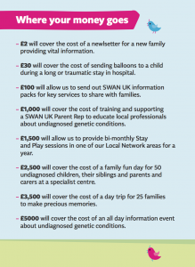 List from SWAN UK website showing how various amounts of money can be spent