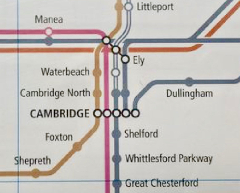 Photo extract of new rail map with Cambridge North station added