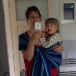 Selfie of VM with EJ in a blue ring sling
