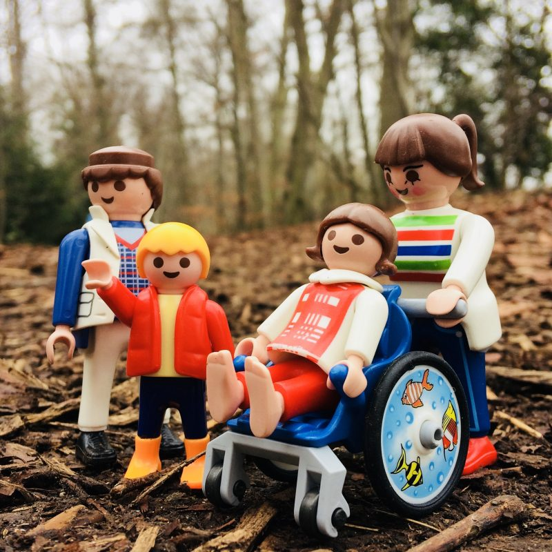Playmobil family, to represent our family, on a woodland path