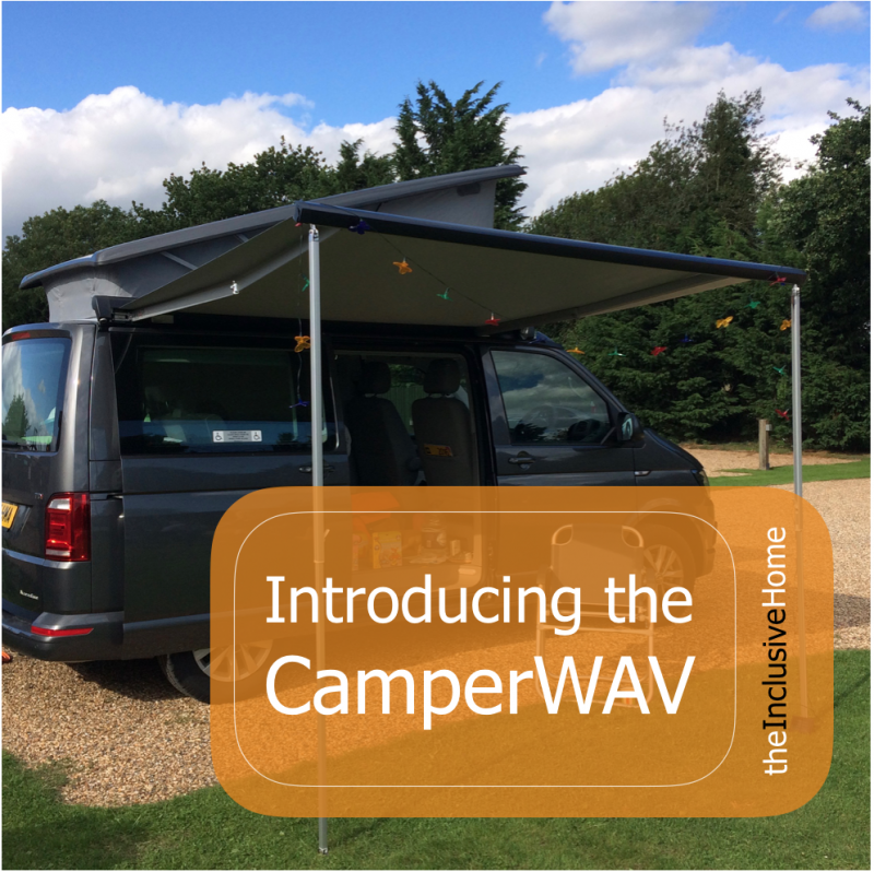 "Picture of the Camper set up on a campsite with text ""introducing the CamperWAV"""