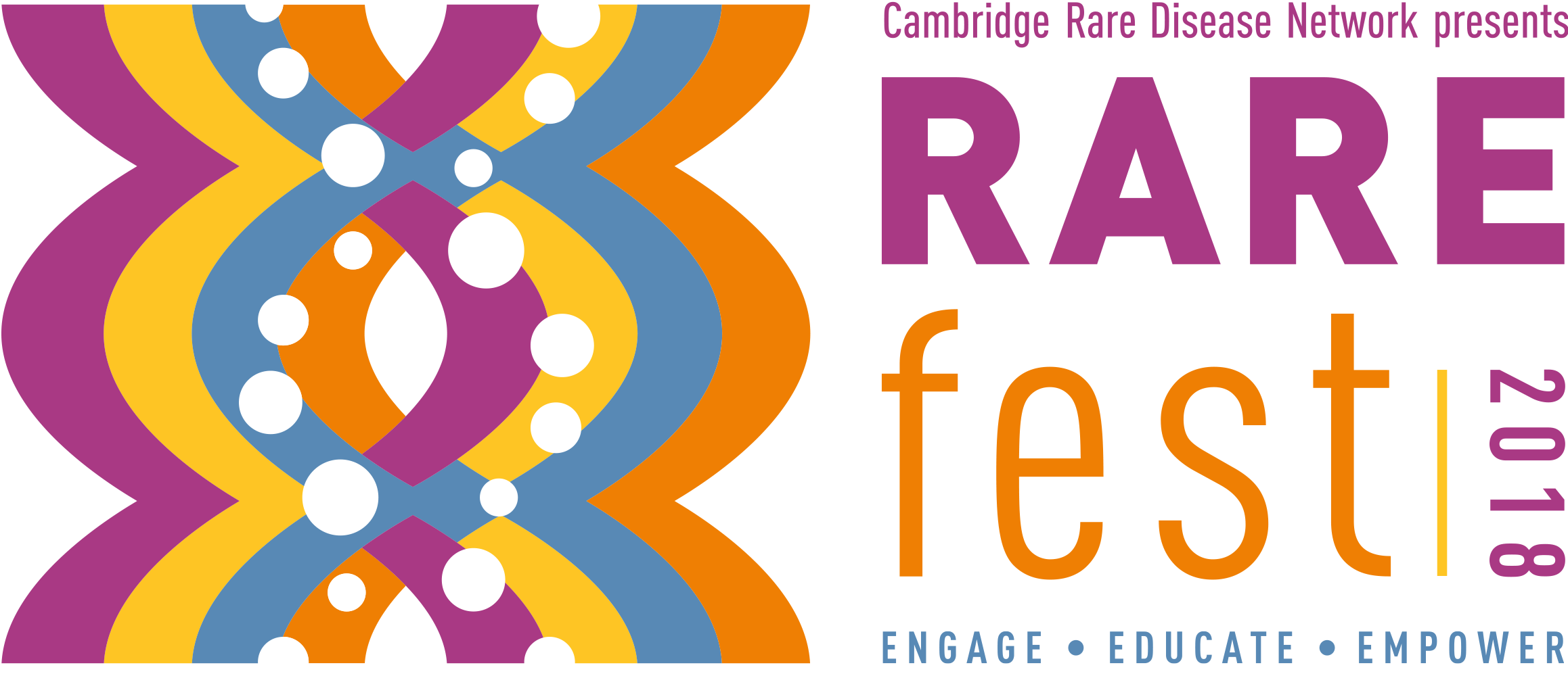 Graphic image for the RARE fest event with a colourful shape representing DNA