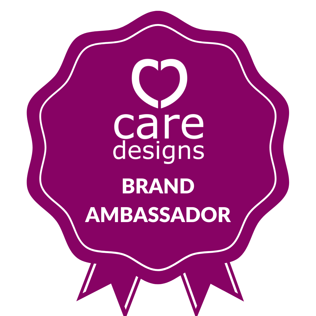 Rosette shaped magenta graphic with white text: Care Designs Brand Ambassador
